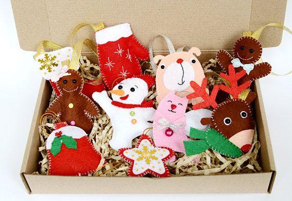 Xmas ornament sets Felt rudolph Felt reindeer decor Felt Christmas
