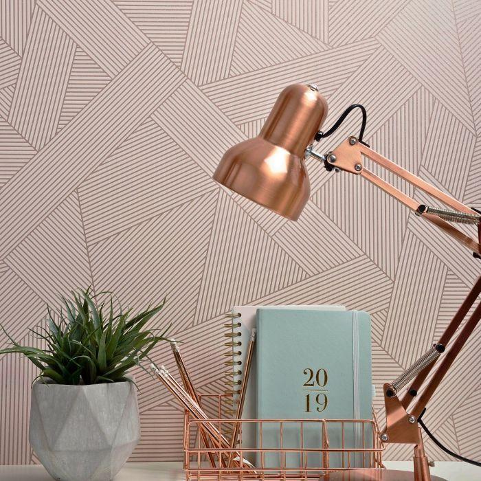 Crown Emporium Duke Geometric Wallpaper Rose Gold M1463crown
