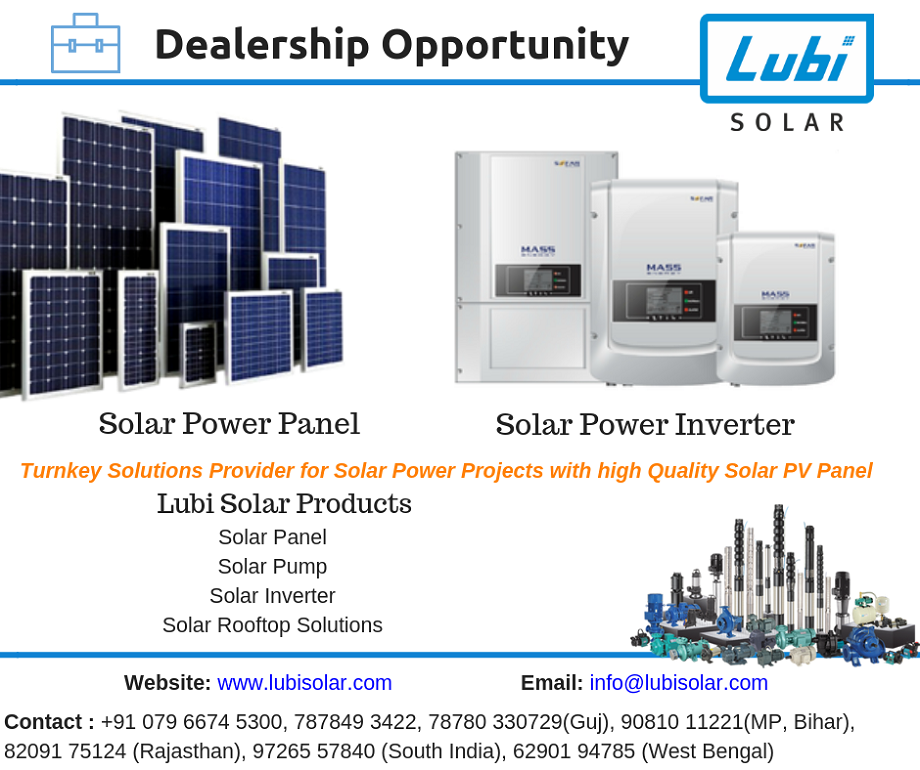 Lubi Solar Looking Business Partner Pan India For Solar Panel Solar Pump Solar Inverter Contact Us For New Busin Solar Panels Solar Power Panels Solar Power