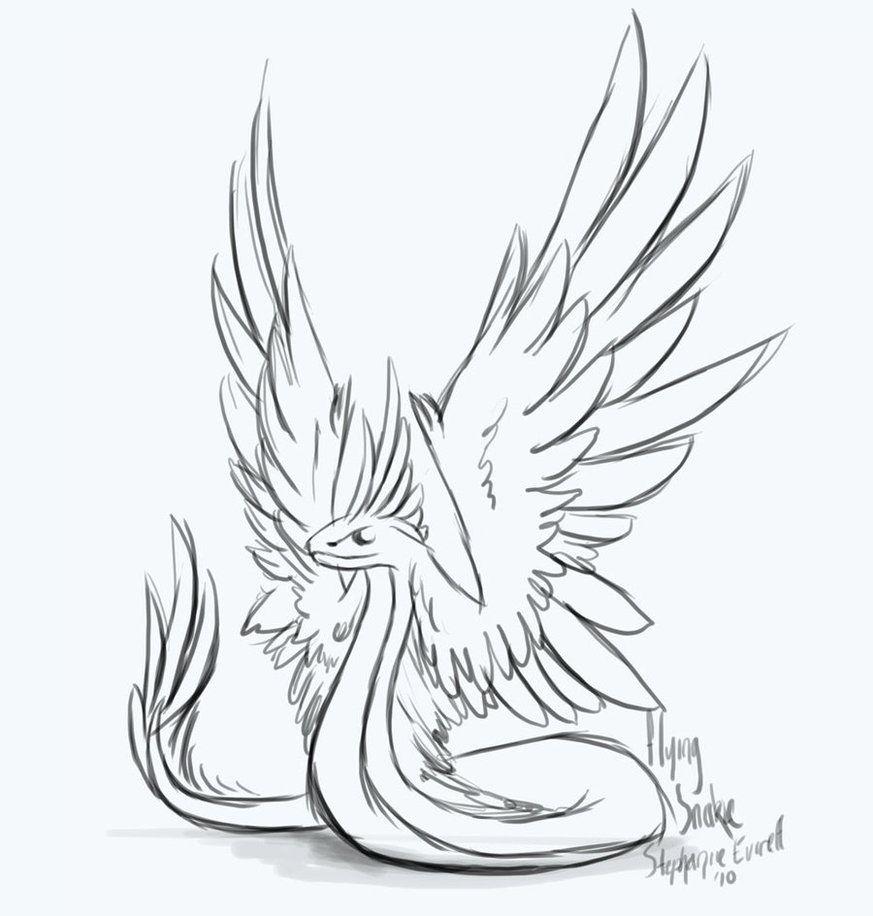 Winged snake sketch by anuxinamoon snake sketch snake drawing wings drawing wall drawing