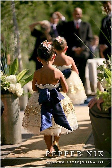 Adorable flower girls, navy, gold, wedding