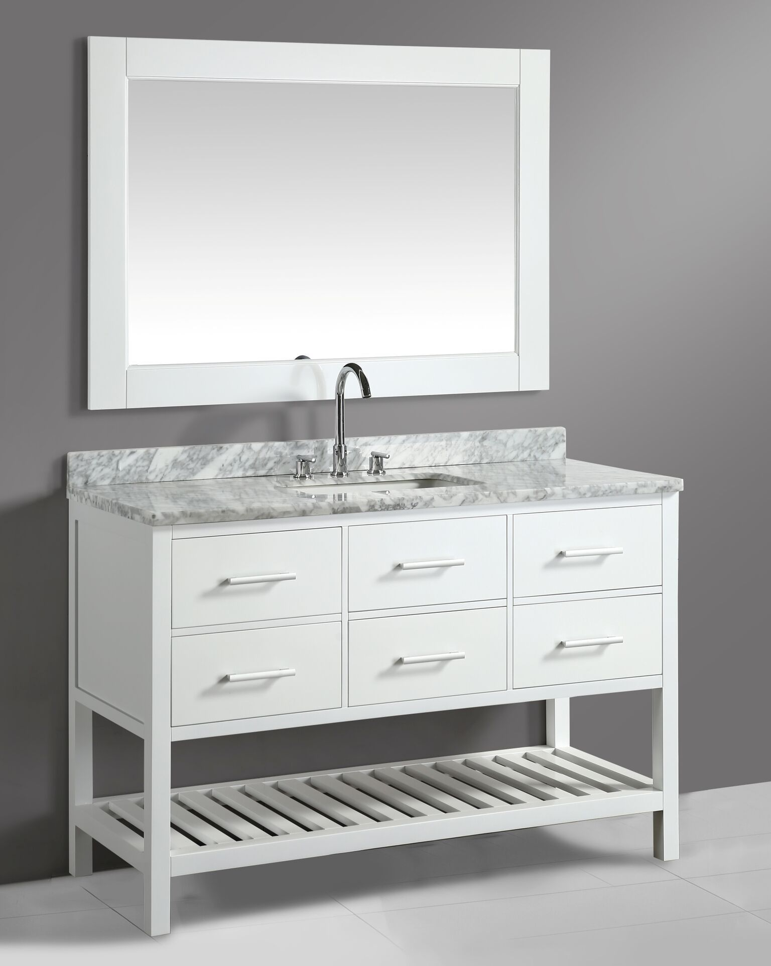 54 Inch Transitional Single Bathroom Vanity Set White Finish With
