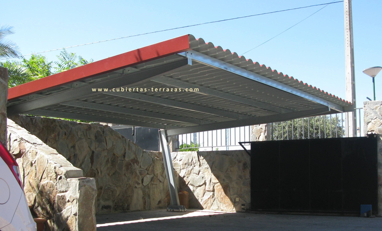 Marquesinas con cubierta de imitaci n teja for Cubiertas para garajes