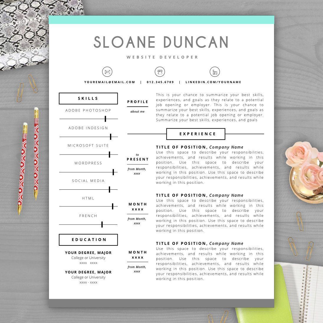 Modern Resume Template CV Template Cover par