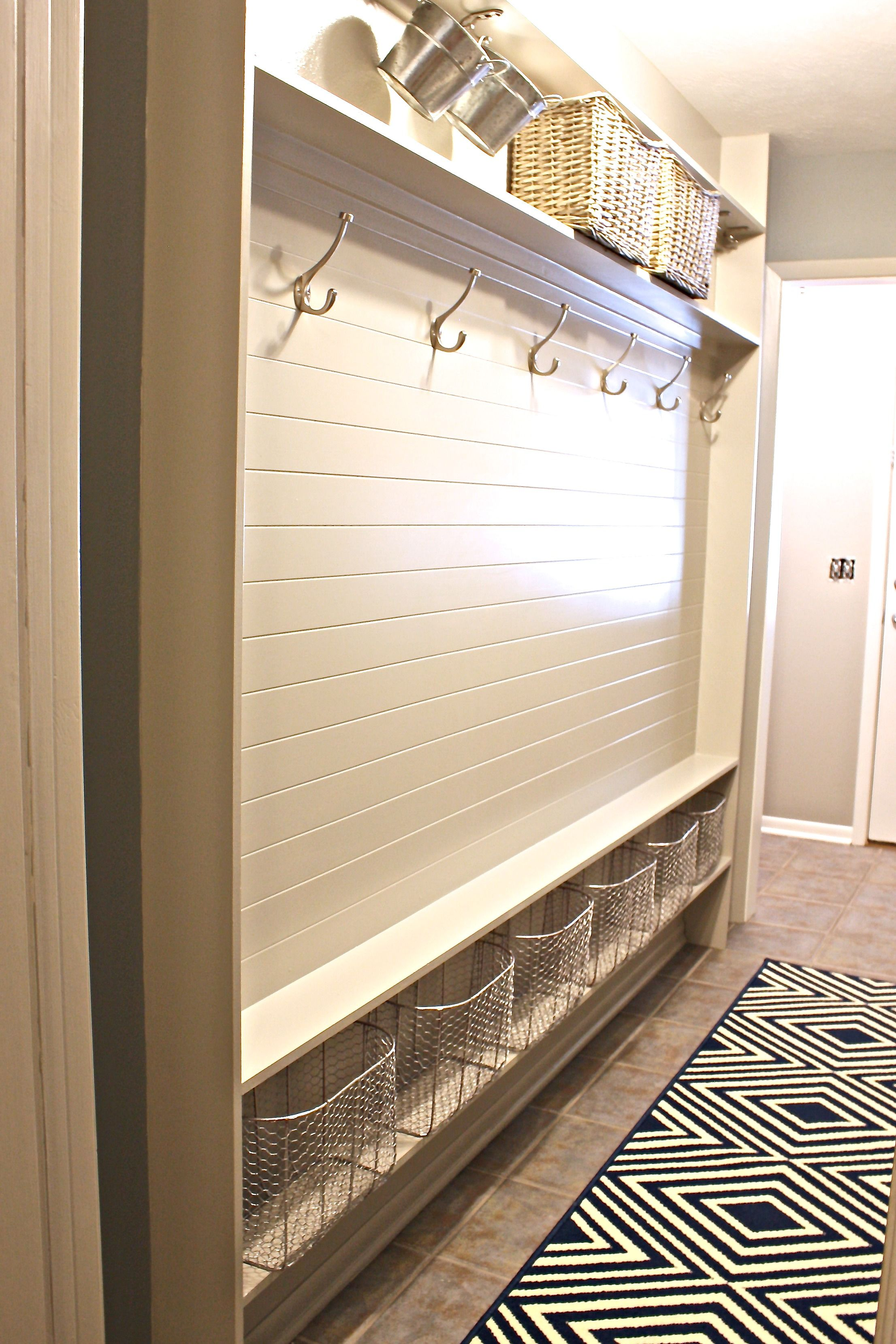 Storage for narrow hallway  Narrow Hallway BuiltIn DIY Mudroom  Mudroom  Pinterest  Mudroom