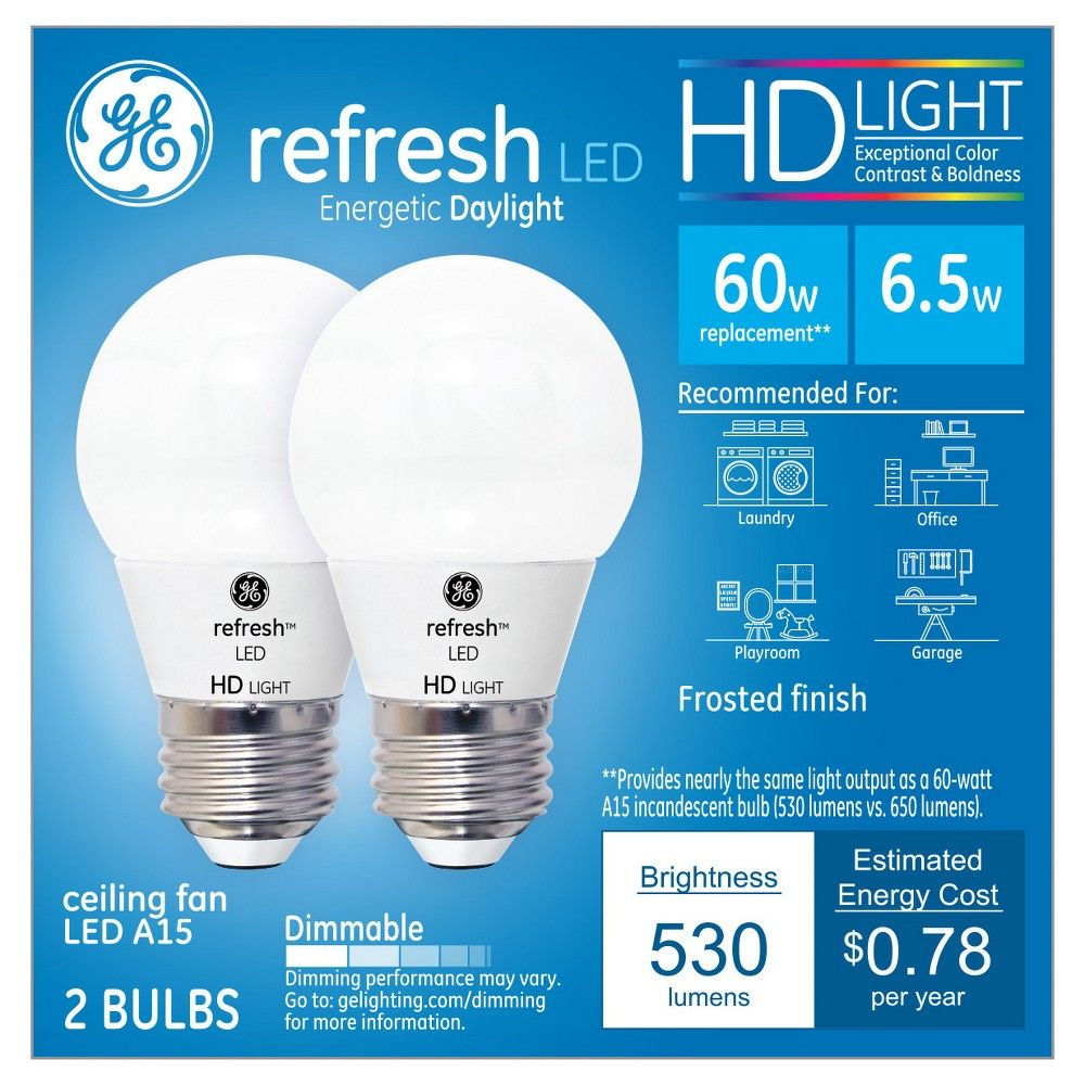 General Electric 2pk Refresh Daylight Hd 60w Equivalent A15 Ceiling Fan Led Bulb Frost In 2020 Led Bulb Fan Bulbs Ceiling Fan