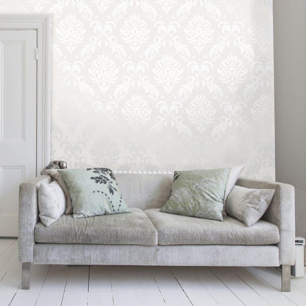 Chelsea Glitter Damask Wallpaper White Silver Brick Effect