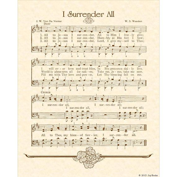 Sheet Music Wall Art i surrender all - hymn art christian home decor vintageverses