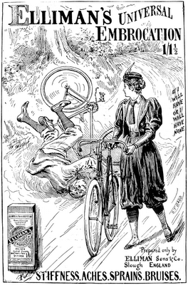 Apothecary Advertisement, Man, Woman, Bicycle Crash, 1897 (small file-perfect for atc's & aceo's);