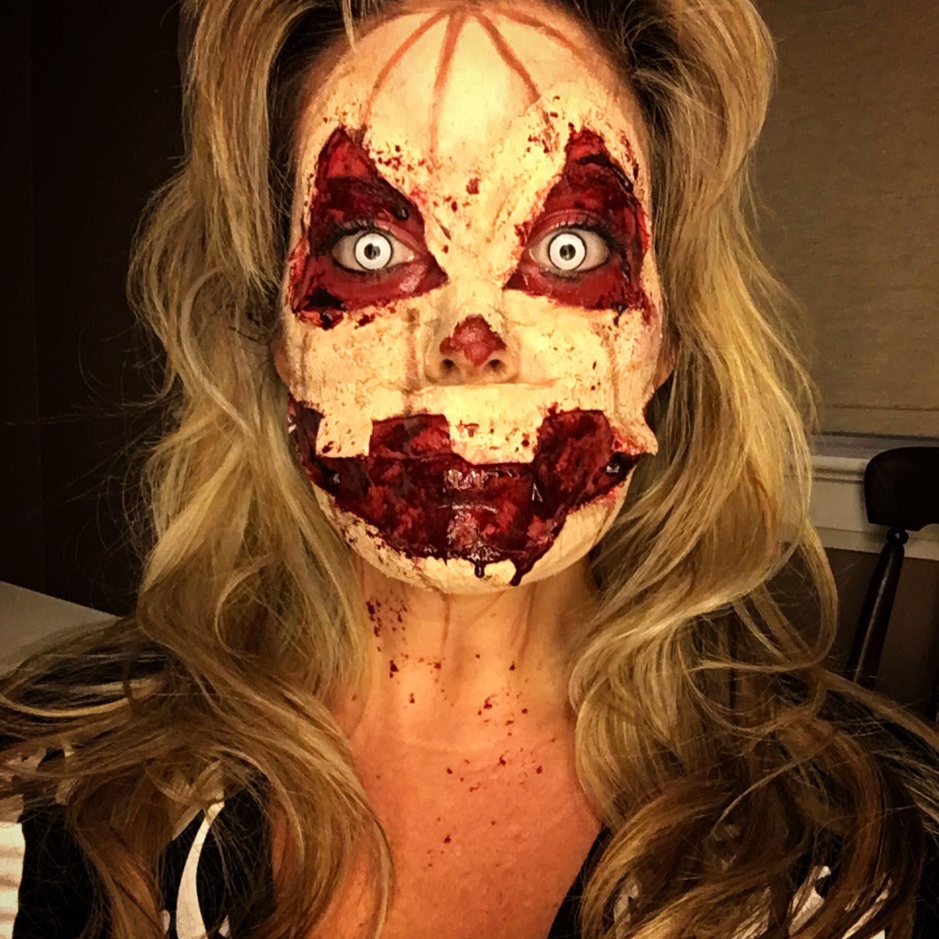 Scary pumpkin Halloween makeup. kimsnapshots on Instagram