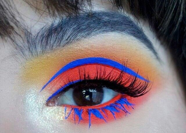 Eye Makeup Avant Garde Creative Bold Orange Eyeshadow Blue Colourful Artistic