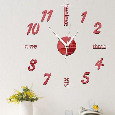 Modern DIY Large Wall Clock 3D Mirror Effect Sticker Decal Home Art Decor Design