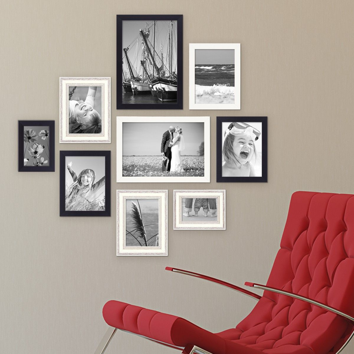 9er Bilderrahmen-Set für grosse Bilderwand Modern Shabby-Chic ...