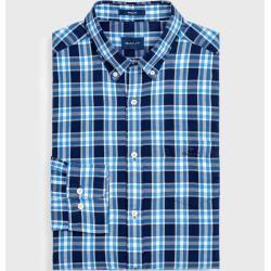 Photo of Gant Checked Windblown Oxford Shirt (Blue) GantGant