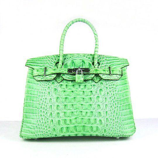 Birkin Bag Leisure Hermes 6088 Green Crocodile Header Stripe Silver Low  Price 30cm Fashion ceed1b6185a64