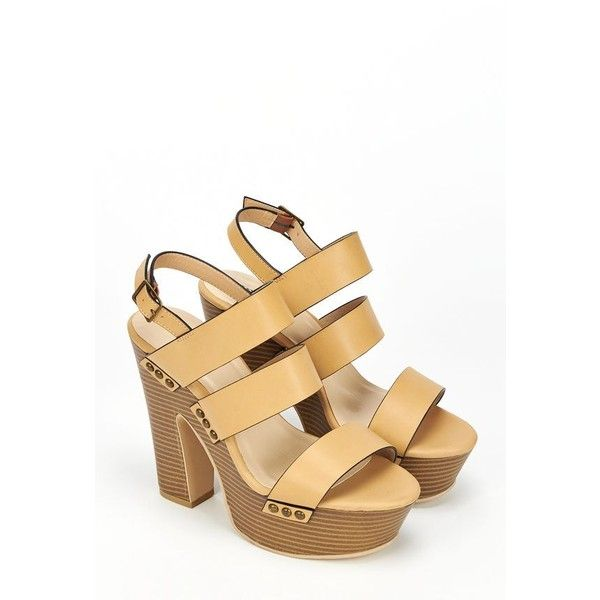 Justfab Heeled Sandals Heathanne ($40) ❤ liked on Polyvore featuring shoes, sandals, apparel & accessories, brown, open toe, ankle strap platform sandals, wedges shoes, brown wedge sandals, platform heel sandals and brown heeled sandals