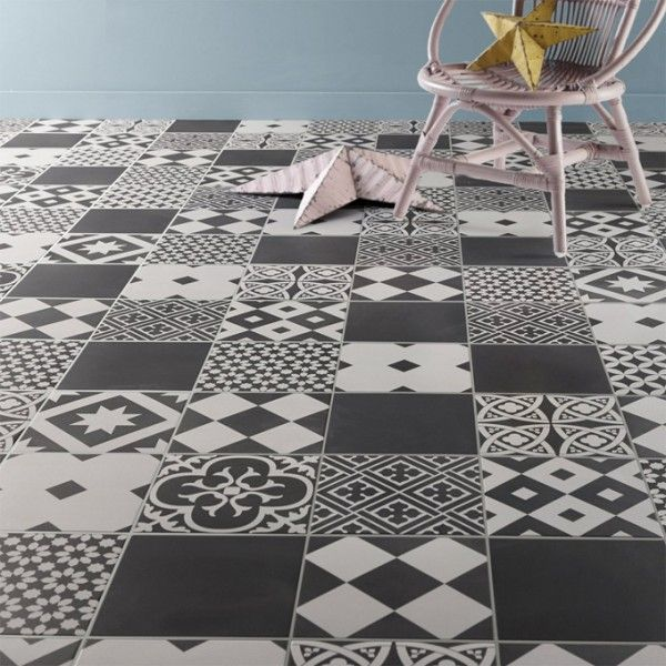 Carrelage imitation carreaux de ciment 7 id es tendance construction and interiors - Carreaux sol noire ...