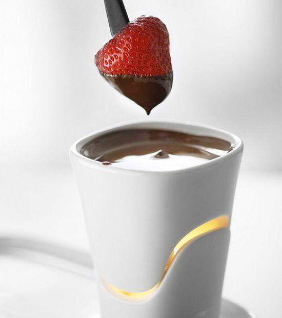 Fondue, fire inside #strawberry #chocolate #cup