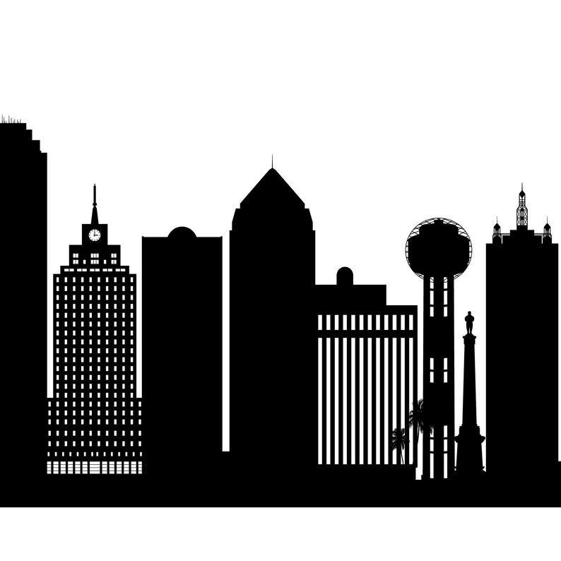 Dallas Skyline Printable Dallas Black White Wall Art Etsy Black And White Wall Art White Wall Art Etsy Wall Art
