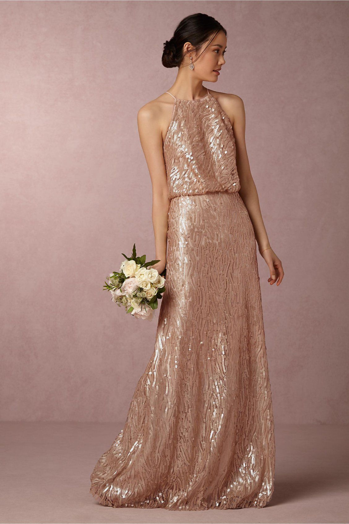 Rose Gold Sequined Alana Dress from BHLDN  Sequin bridesmaid