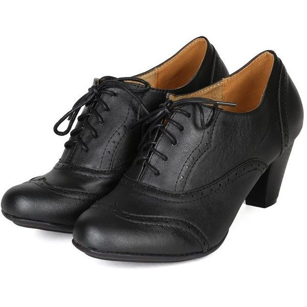 9f38655d9f53 Refresh BH50 Women Leatherette Lace Up Oxford Chunky Heel Bootie Black  ( 16) ❤ liked on Polyvore featuring shoes
