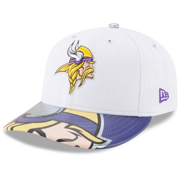 Men s Minnesota Vikings New Era White 2017 NFL Draft On Stage Low Crown  59FIFTY Fitted Hat 57a460c9a