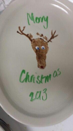 Rudolph reindeer foot print babies first Christmas.