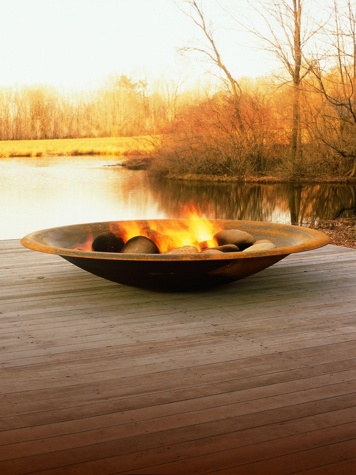 Steel Fire pit by Elena Colombo, seen on http://www.contemporist.com ...