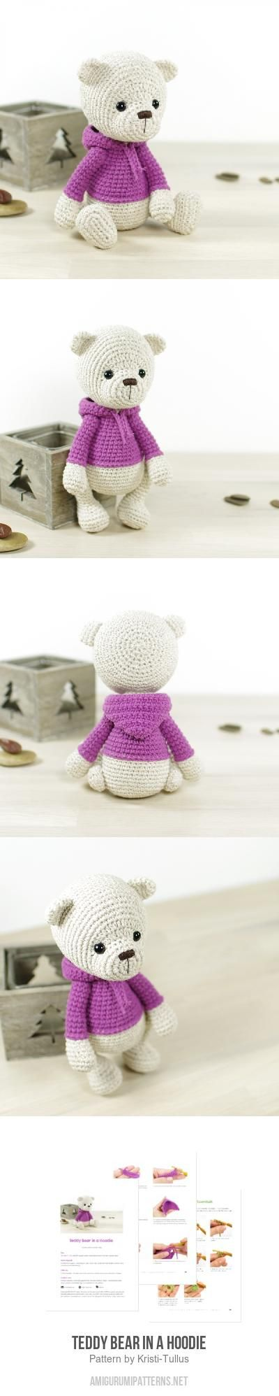 Teddy bear in a hoodie amigurumi pattern by Kristi Tullus   Patrones ...