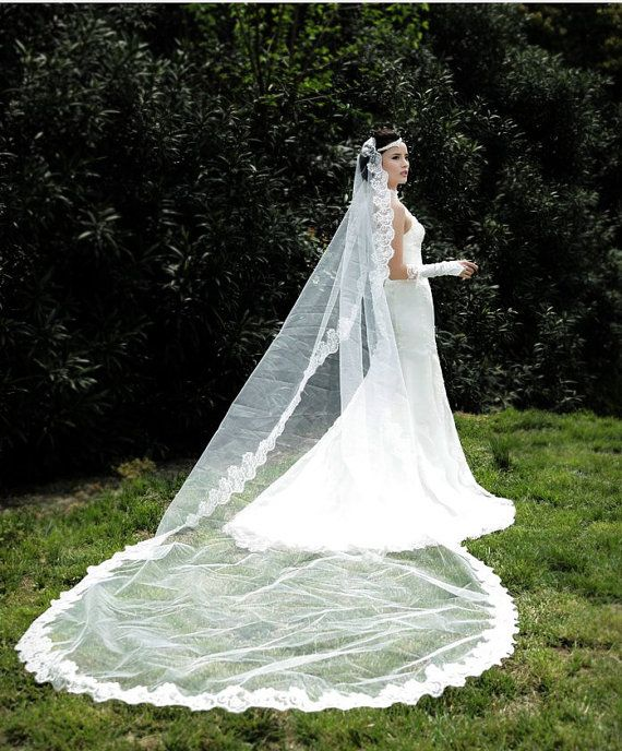 Bridal lace veil Wedding long Lace edge Mantilla Veil In White Vintage veil Bridal veil wedding veil bridal accessory HV11 FREE SHIPPING on Etsy, $37.07