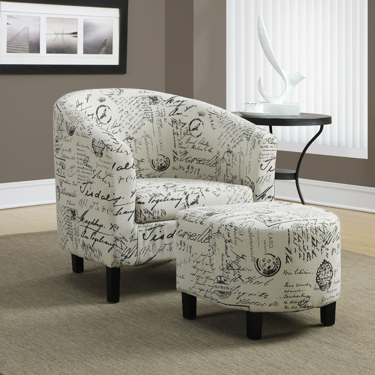 Carter Accent Chair Ottoman Set With Images Chair And Ottoman