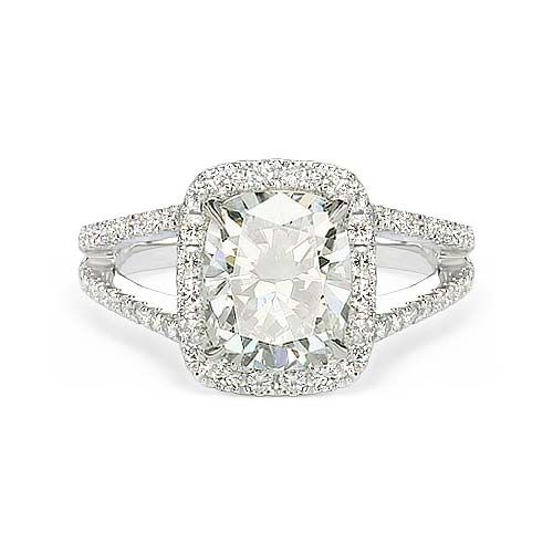 1.76 ct E SI1 CUSHION CUT DIAMOND ENGAGEMENT RING18k At-http://www.larrysfinejewelryinc.com- i love the shape and the band!