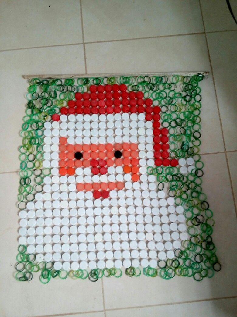 Painel De Natal Feito De Tampinhas De Garrafas Pet Tampas De