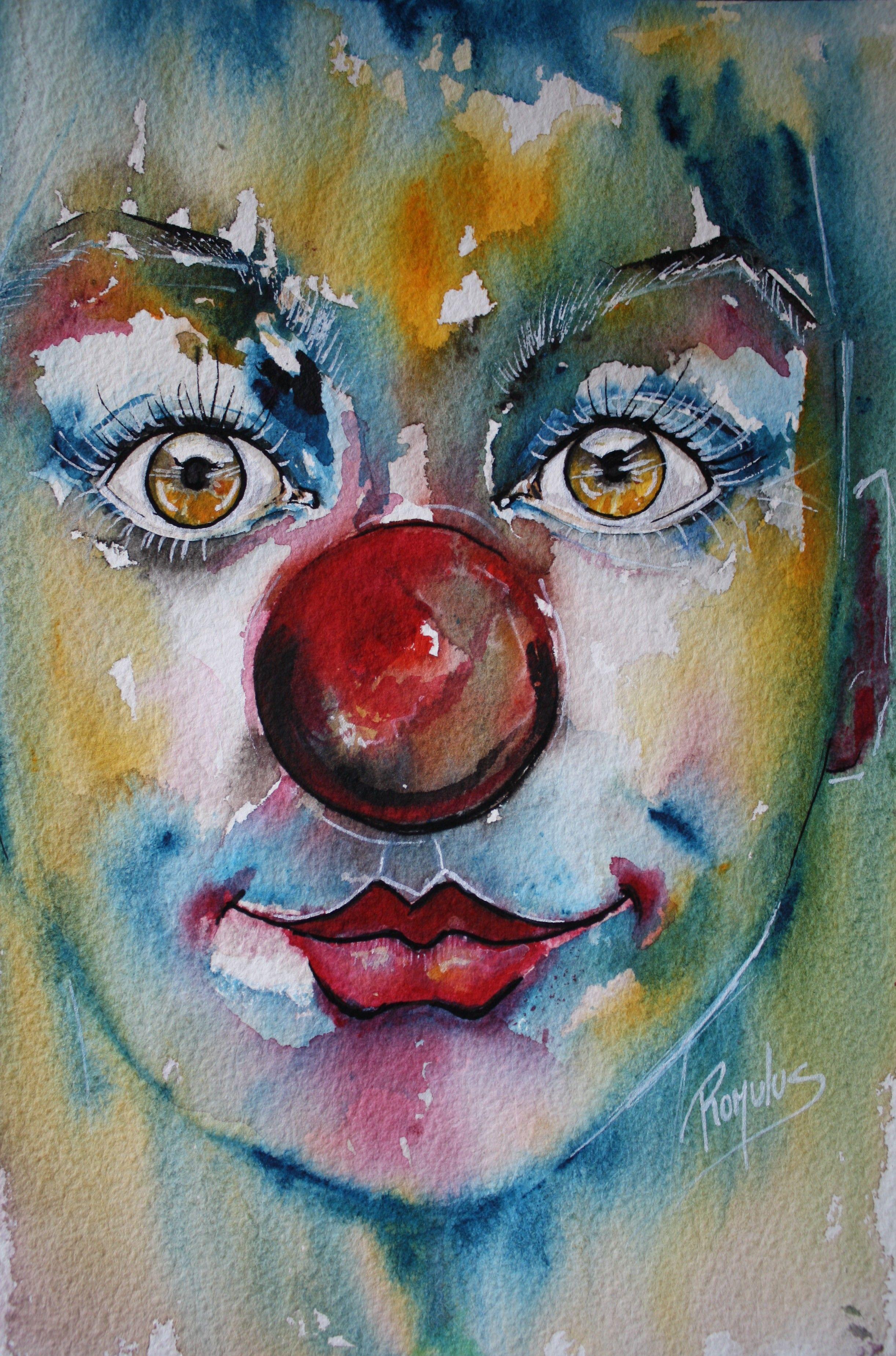 « Clown 6 » Aquarelle sur Papier - 18x24cm - Indisponible