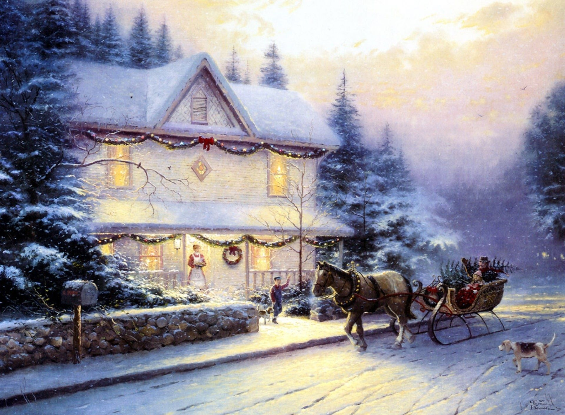 Christmas house painting - Best And Famous Christmas Painting Wallpapers For Kids Free Download Jpg Jpeg Grafik 1920 1410 Pixel Oil Color Pinterest Thomas Kinkade And