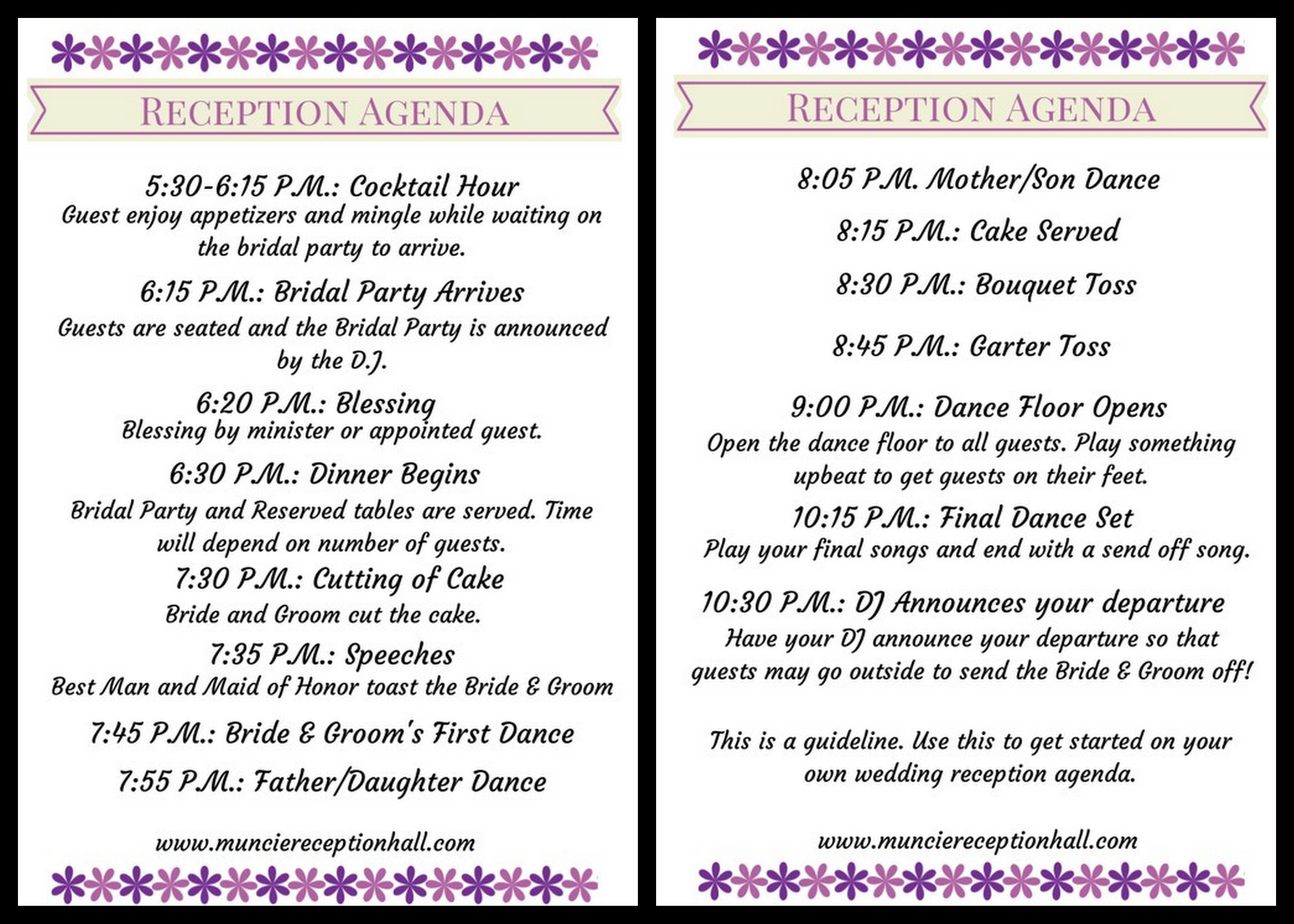 Wedding Reception Agenda Weddingplanning Planning