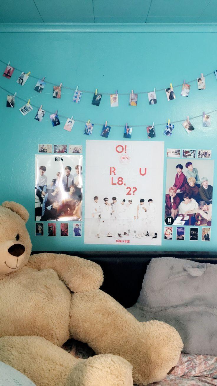 #room #decor #ideas #bed #teddybear #kpop #posters #bts # ...