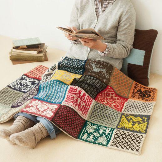 Scandinavische motiefjes tot mooie deken (maybe this is felted from old sweaters?)