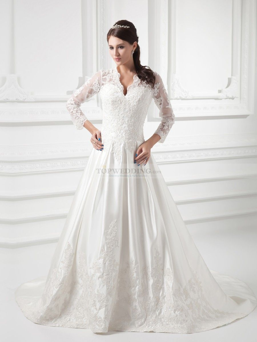 V neck satin a line wedding dress with beaded applique detail and