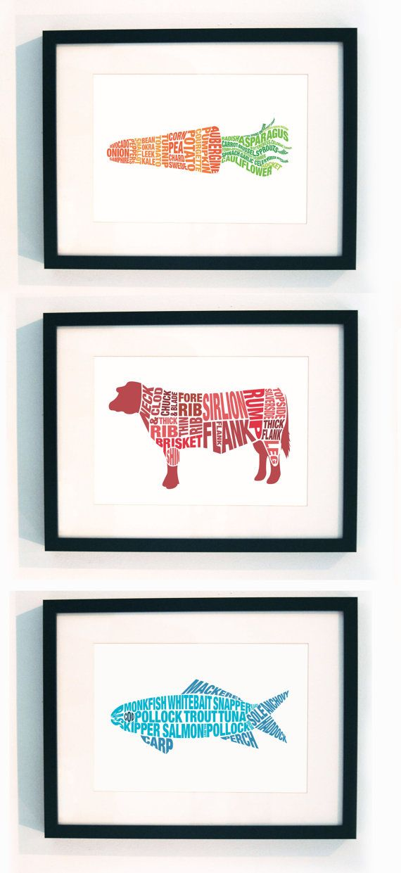 Set Of Three Typographic Food Prints By Lucylovesthis On Etsy