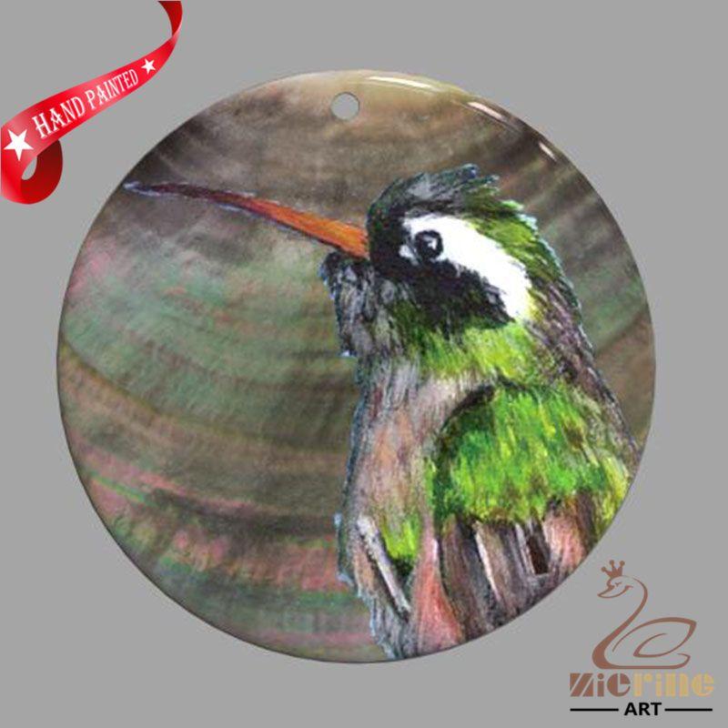 HAND PAINTED BIRD SHELL FASHION NECKLACE PENDANT ZP30 01324 #ZL #PENDANT