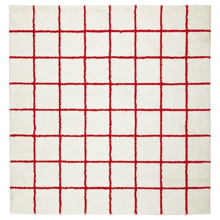 simested rug high pile white red