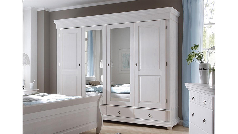 Schlafzimmerschrank Weiß ~ Kleiderschrank oslo kiefer massiv weiß mit spiegel cm home