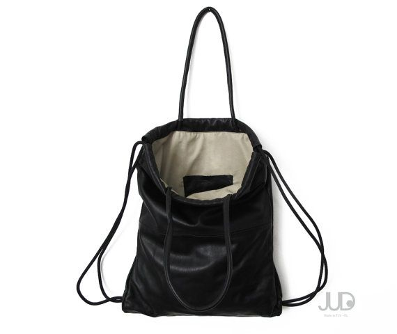 98665fc009 Black leather backpack tote multi-way leather bag soft leather tote SALE  laptop bag leather drawstri