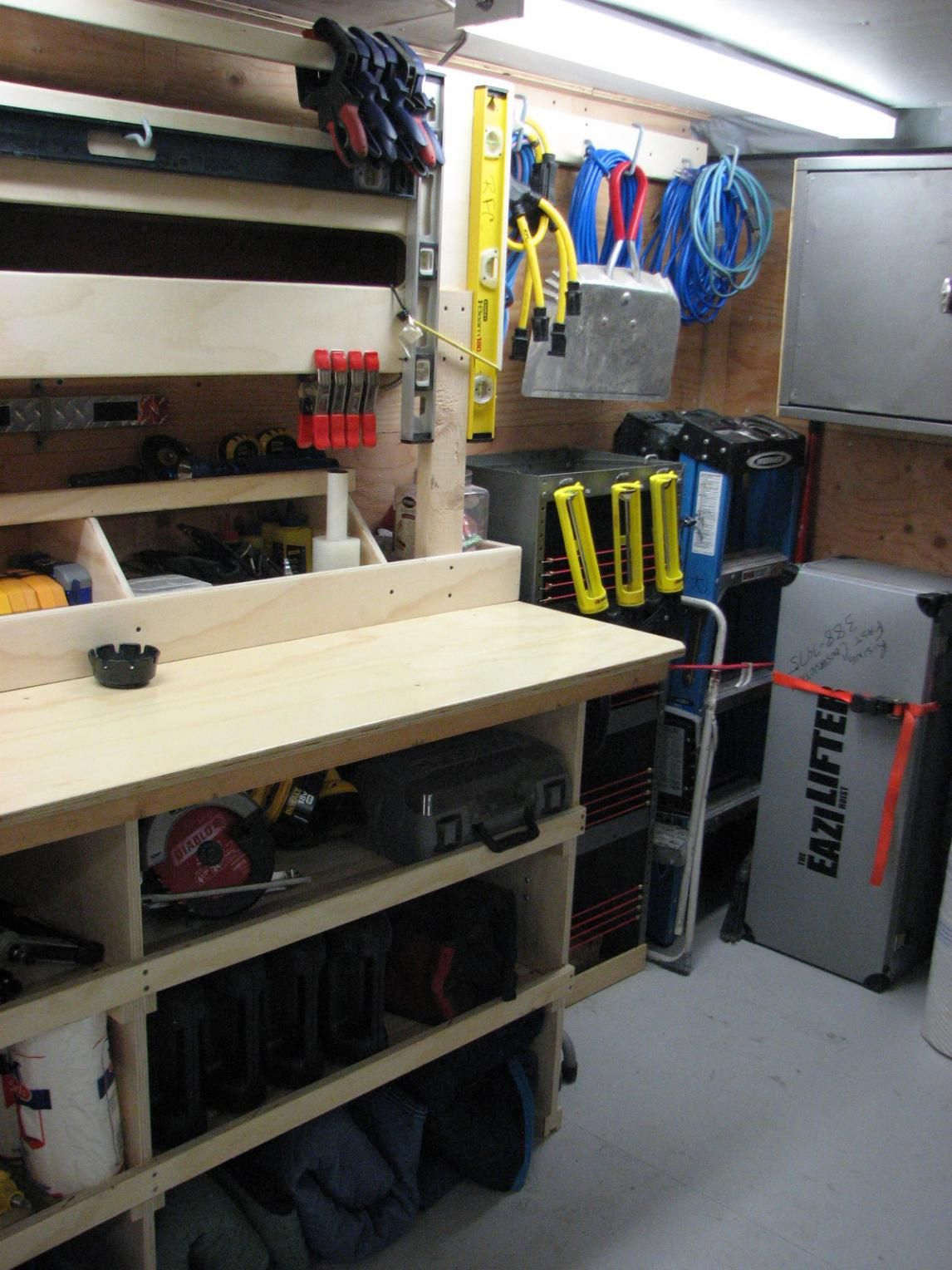 Trailer trailer pinterest tool storage for Rv workshop