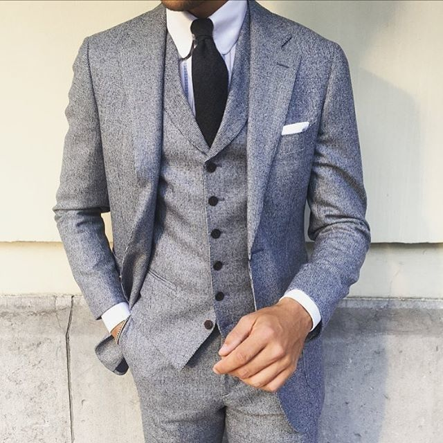mens grey three piece suit white dress shirt black tie
