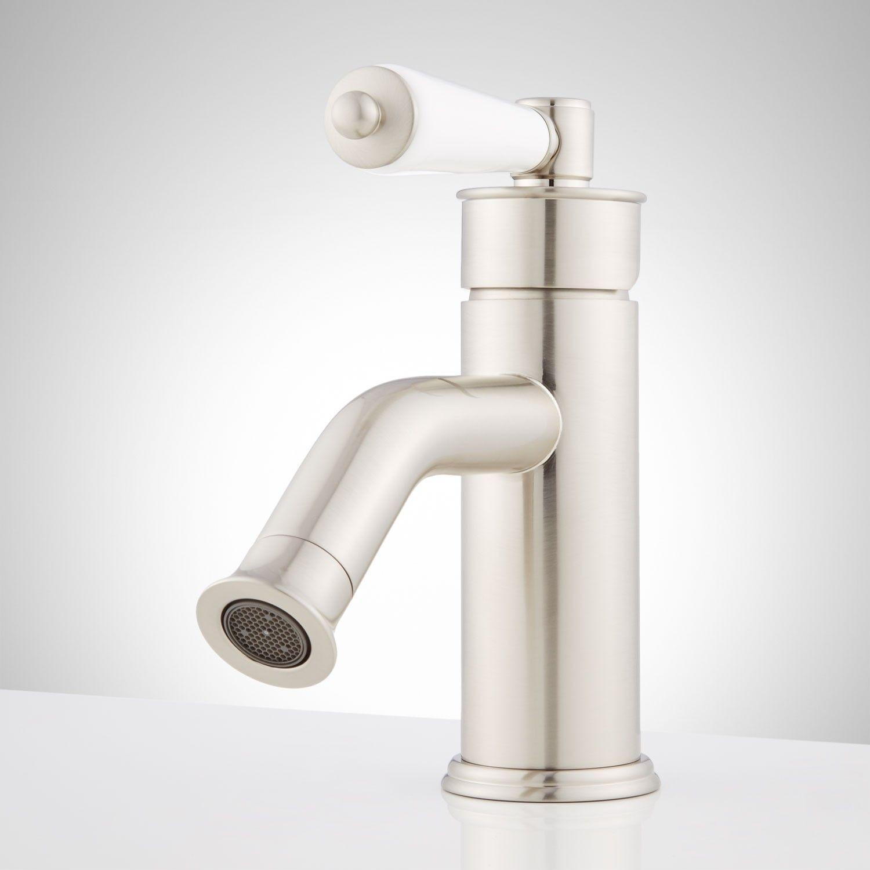 Napier Singlehole Bathroom Faucet With Porcelain Lever Handle Beauteous Porcelain Handle Bathroom Faucet Inspiration