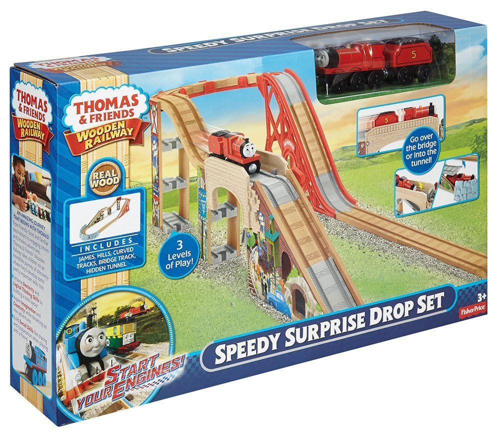 10cabc0576aa Amazon.com: Fisher-Price Thomas the Train Wooden Railway Speedy Surprise  Drop Set: Toys & Games