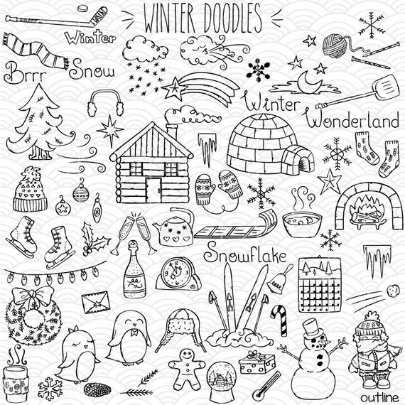Winter Season Doodles Clip Art | Hand Drawn Mittens + Igloo Vector Graphics | Snowman + Penguin Outline Drawing | Png Svg Eps Pdf Dxf