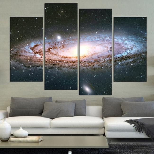 Andromeda Galaxy 4 Piece Canvas Galaxy Painting Wall Art Canvas Painting Andromeda Galaxy